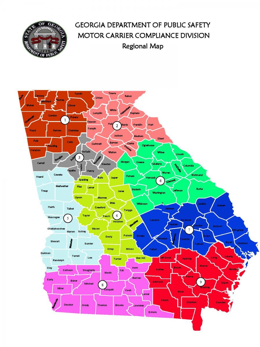 Mccd Regions Georgia Department Of Public Safety